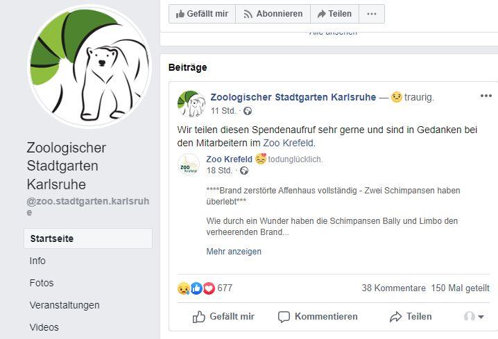 Der Zoo Karlsruhe teilt den Spendenaufruf für den Krefelder Zoo auf seiner Facebookseite. Quelle: fb